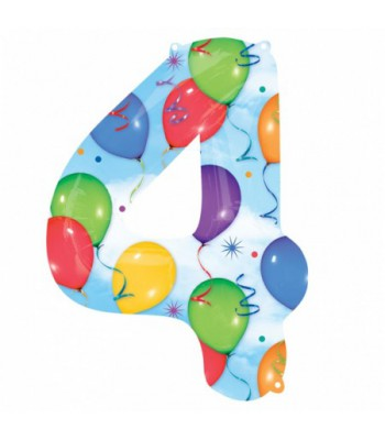 Foil Balloons - Numbers - 4 - Multicoloured