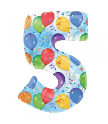 Foil Balloons - Numbers - 5 - Multicoloured