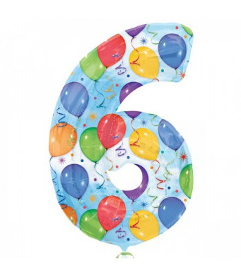 Foil Balloons - Numbers - 6 - Multicoloured