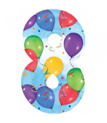 Foil Balloons - Numbers - 8 - Multicoloured