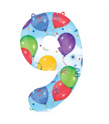 Foil Balloons - Numbers - 9 - Multicoloured