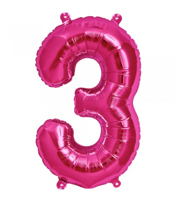 Foil Balloons - Numbers - 3 - Pink