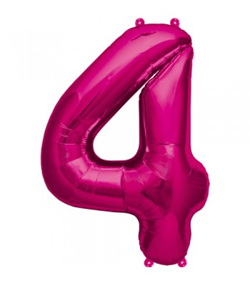 Foil Balloons - Numbers - 4 - Pink