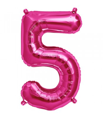 Foil Balloons - Numbers - 5 - Pink