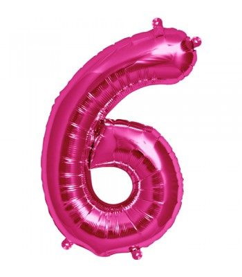 Foil Balloons - Numbers - 6 - Pink
