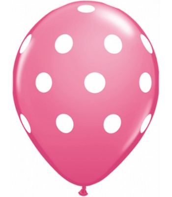 Latex Balloons - Printed - White Polka Dots on Light Pink
