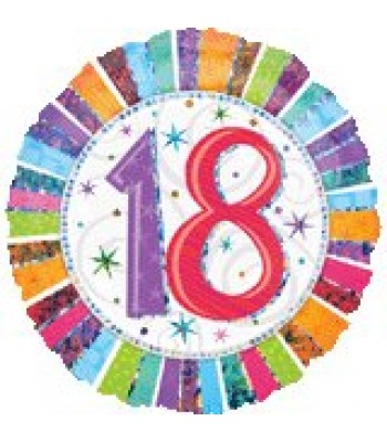 Foil Balloons - Birthday Ages - Prism Radiant Birthday 18