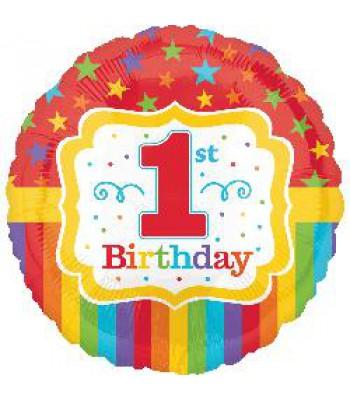 Foil Balloons - Birthday Ages - Rainbow 1st Birthday
