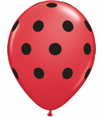 Latex Balloons - Printed - Red With Black Polka Dots