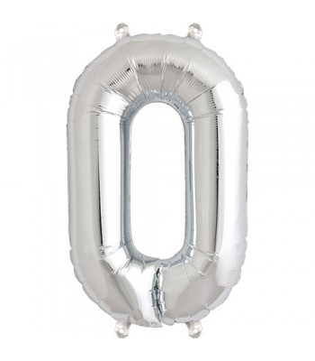 Foil Balloons - Numbers - 0 - Silver