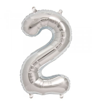 Foil Balloons - Numbers - 2 - Silver