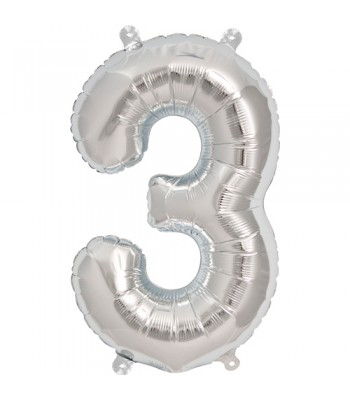 Foil Balloons - Numbers - 3 - Silver