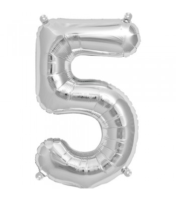 Foil Balloons - Numbers - 5 - Silver
