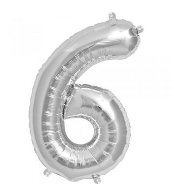 Foil Balloons - Numbers - 6 - Silver