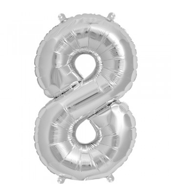 Foil Balloons - Numbers - 8 - Silver