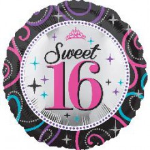 Foil Balloons - Birthday Ages - Sweet 16 Sparkle