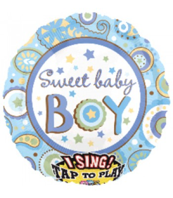 Sing A Tune Foil Balloon - Sweet Baby Boy